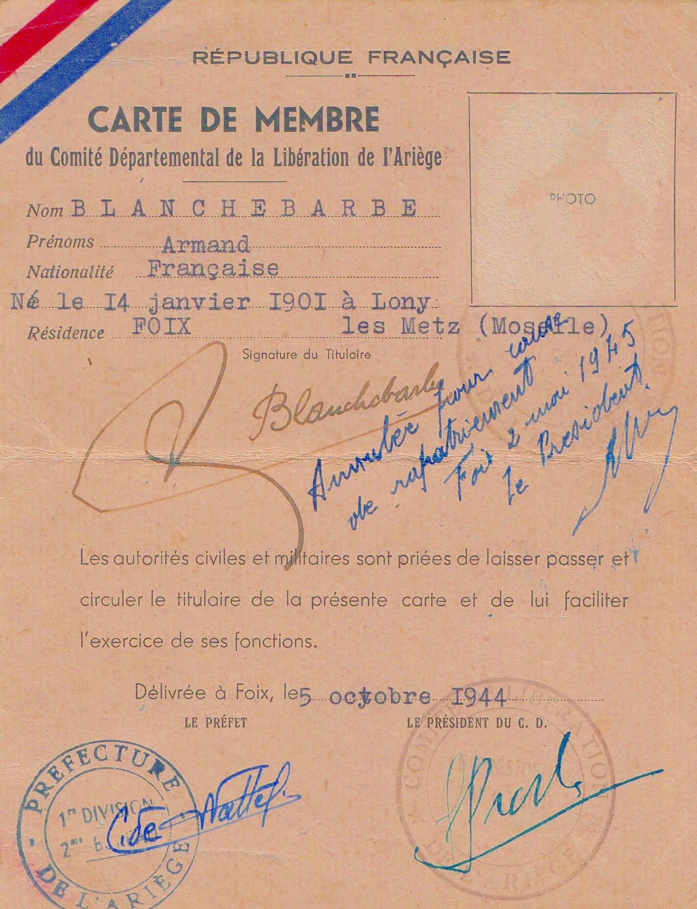 Carte de membre du Comité départemental