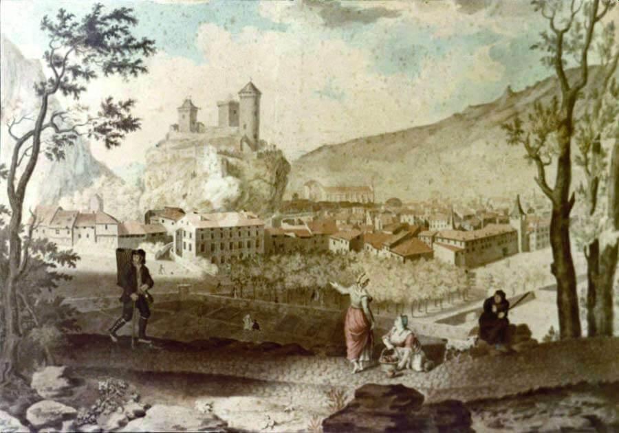 aquarelle ville de Foix